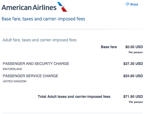 AA award flight taxes & fees