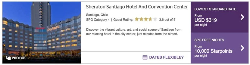 You could get two nights at the Sheraton Santiago with purchased points.
