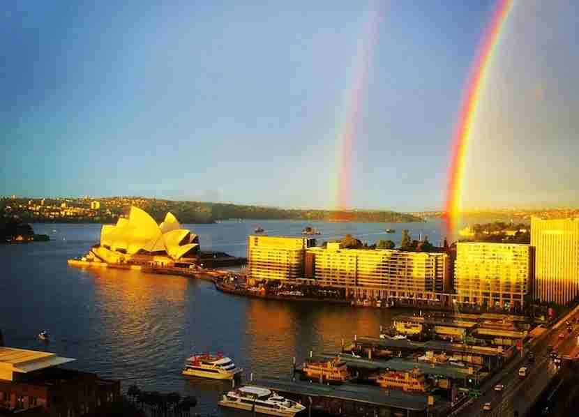 Last time I was there, I saw a double rainbow over the Opera House from the Four Seasons hotel.
