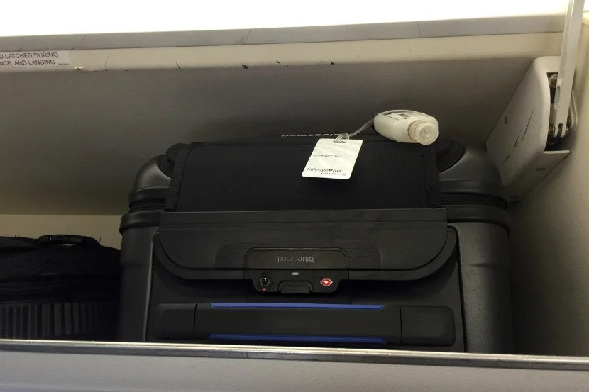 The bag fit perfectly in the overhead bin of a United ERJ-175 regional jet.