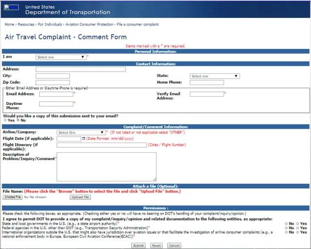 830-DOT Complaint Form