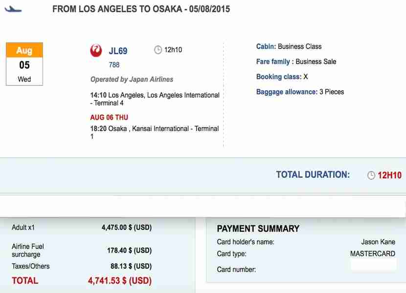 This round trip cost about $4740