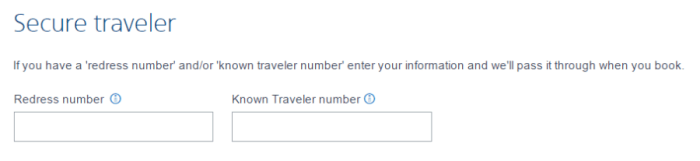 "Look for ""Known Traveler number"""