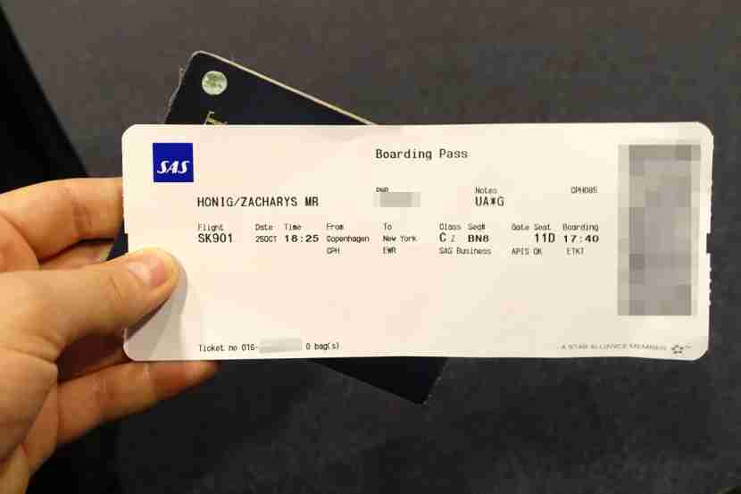 My SAS boarding pass.