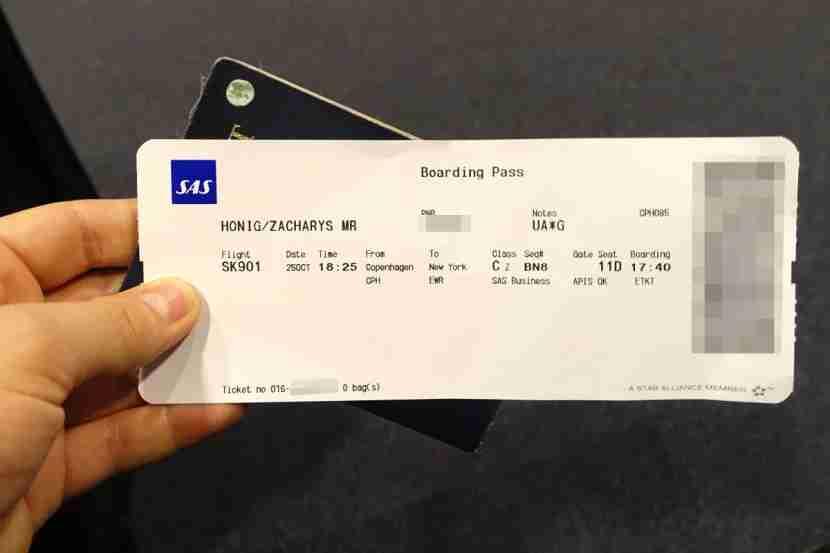 My SAS boarding pass.