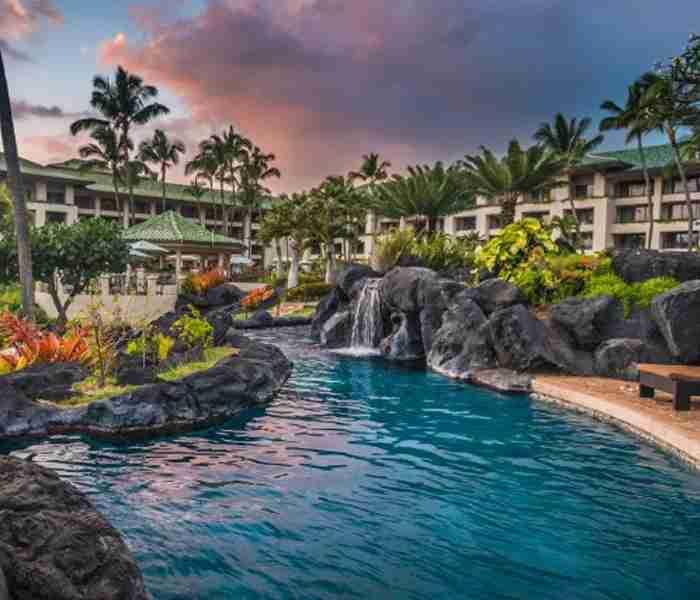 The pool at the Grand Hyatt Kauai Resort & Spa.