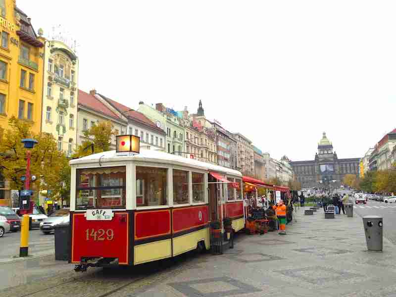The broad plaza of Wenceslas Square directs attention (and traffic) up to the National Museum.