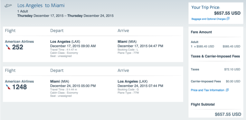 Los Angeles to Miami for $ round-trip.