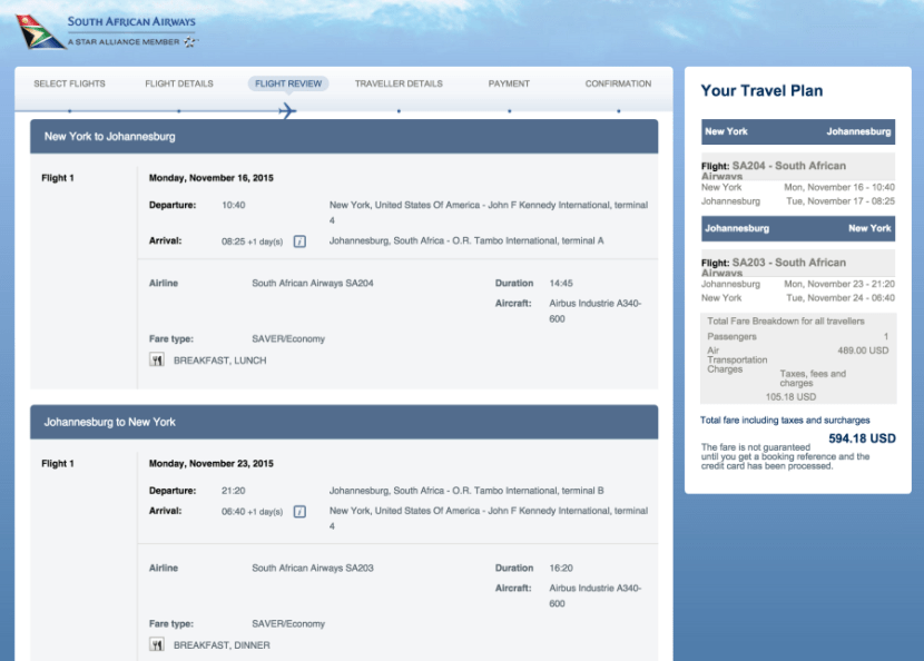 New York (JFK)-Johannesburg (JNB) for $594 on South African Airways.