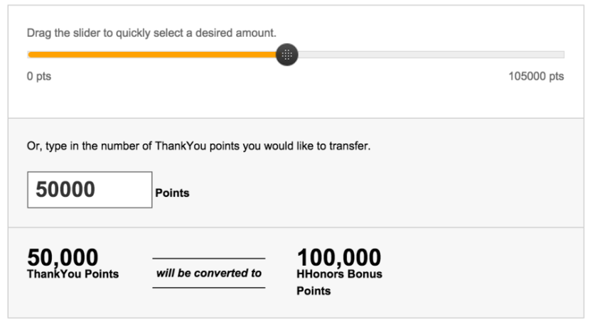 50,000 Citi points becomes 100,000 HHonors points.
