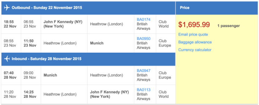 New York (JFK) to Munich (MUC) in business class on British Airways for $1,697.