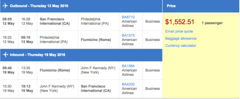 San Francisco (SFO) to Rome (FCO) in business class on British Airways for $1,553.