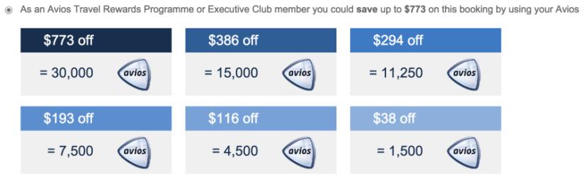 Redeem 30,000 Avios to save $773.