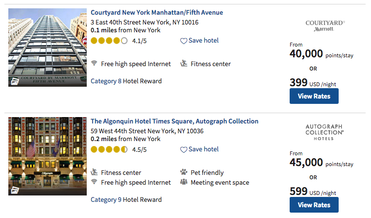 Marriott search results