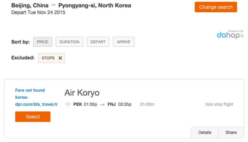 Air Koryo's site will show you flight times, but not their costs.