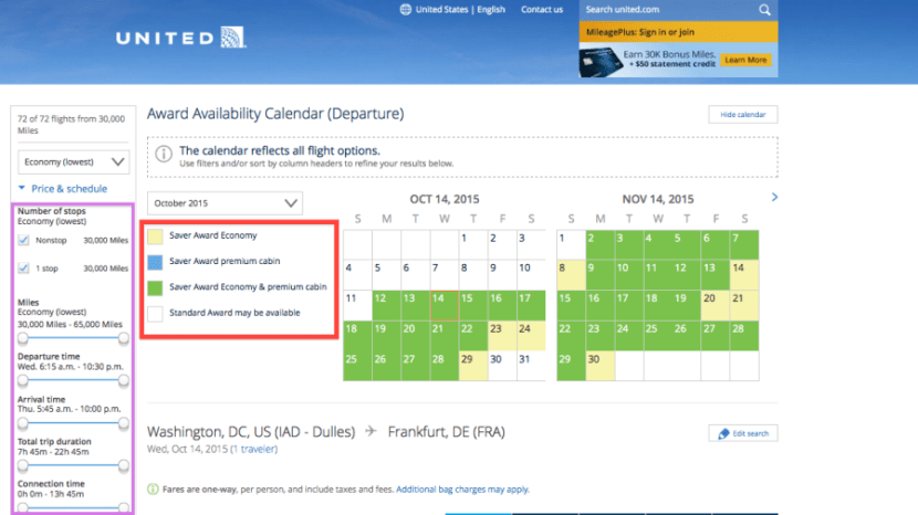 United award calendar and options