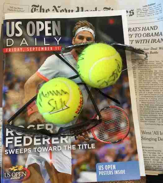 Our signed tennis balls.
