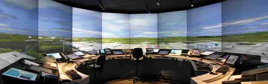 During training, potential ATCs must first practice their jobs via simulators like these. Photo courtesy of Halldale Group.