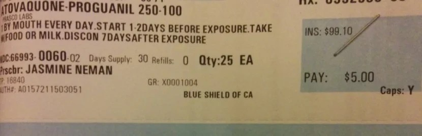 Calling my insurance company reduced the price of these anti-malaria pills to $5. - Photo courtesy of the author.