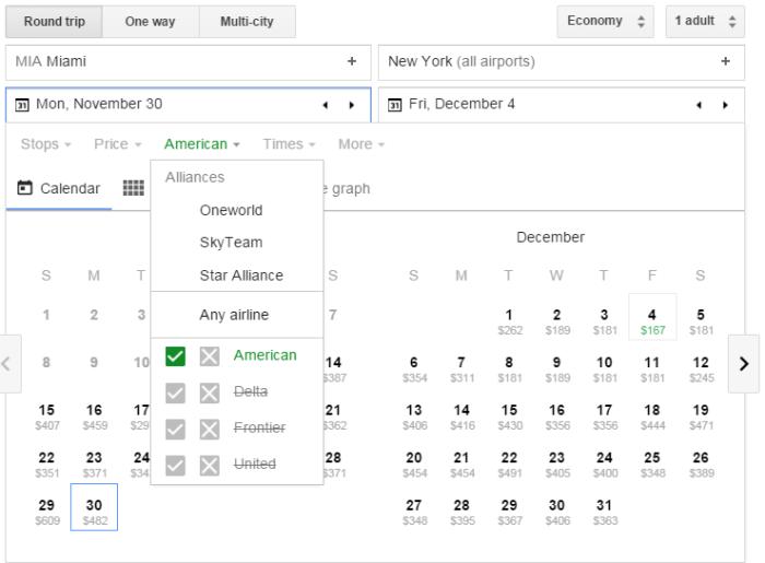 Google Flights American-only
