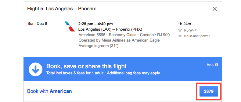 Google Flights PHX book