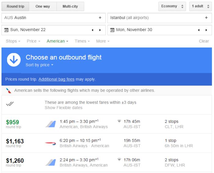 Google Flights search AUS-IST