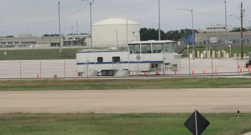 """Austin Airport's """"temporary tower"""" on Wednesday afternoon."""