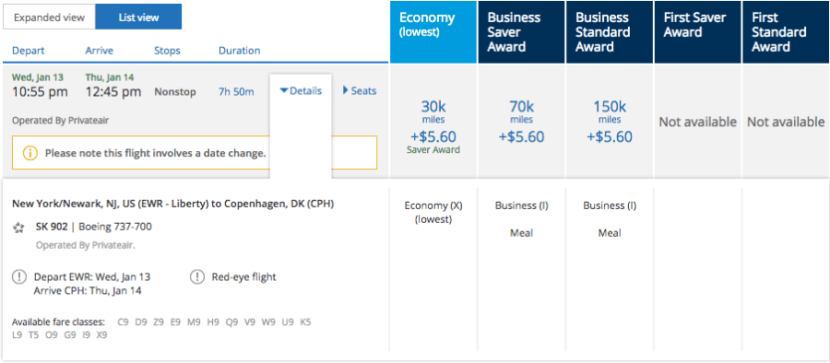 Excellent business and economy award availability on the 737.