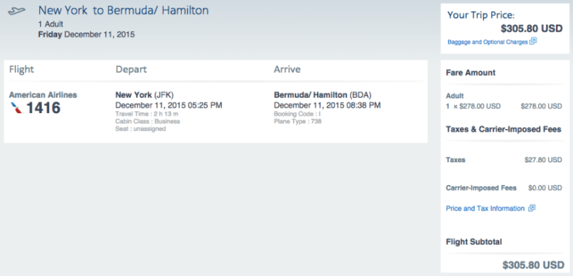 JFK to Bermuda for $306 one-way on AA