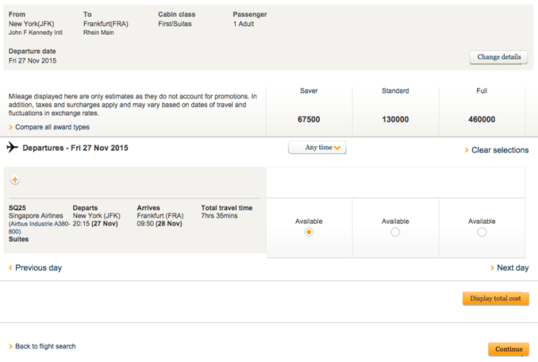 Singapore flight selection
