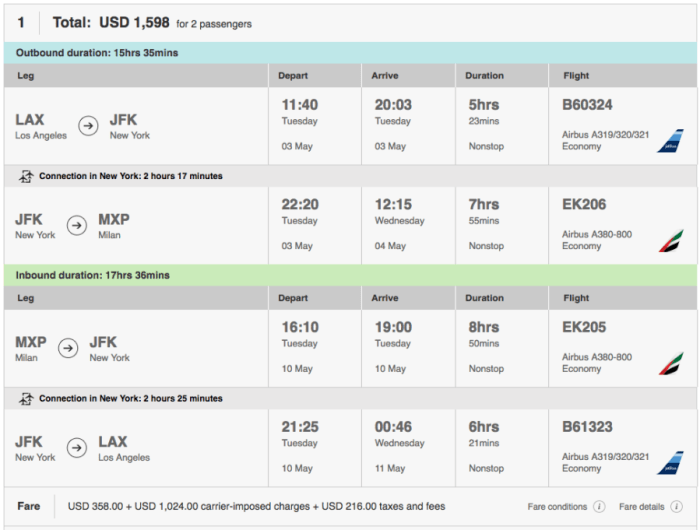 Los Angeles (LAX)-Milan (MXP) on Emirates and JetBlue in economy for $799 per person.