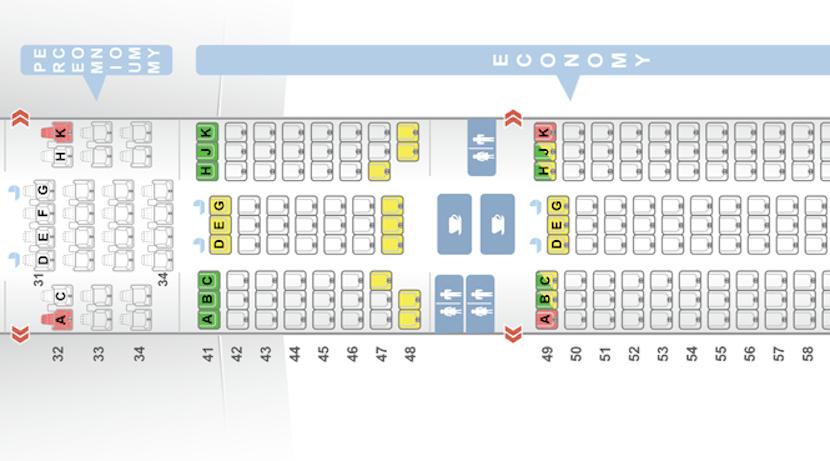 The seatmap of premium economy versus economy on the 777-300ER.