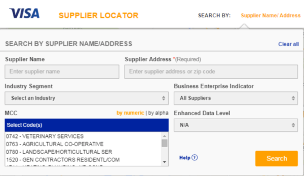 Use the Visa Supplier Locater tool to find out what the vendor merchant code is.