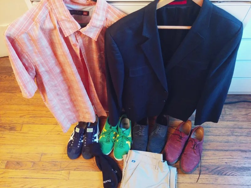 Just some of my Zappos haul — luggage and the rush of getting a great deal not pictured. Photo by the author.