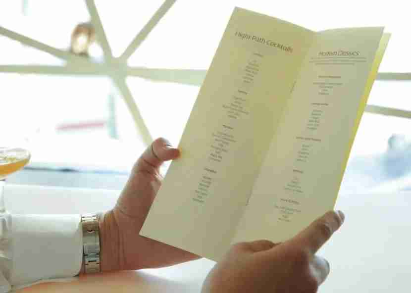 The signature cocktail menu for the Etihad lounge at JFK.