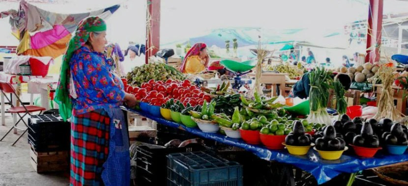 Woman selling produce in Juarez Market in Oaxaca, Mexico. Photo courtesy of Visit Mexico.