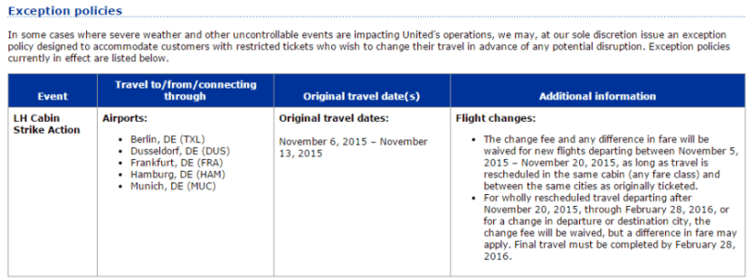 united travel exception