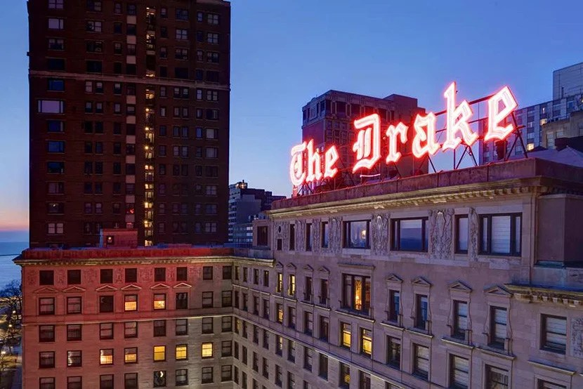 The exterior of the Drake Hotel in Chicago.