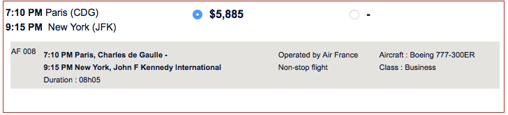 The standard price for my flight on Air France CDG-JFK.