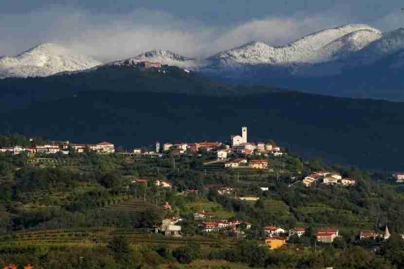 The mountain-fringed vineyards of Slovenia