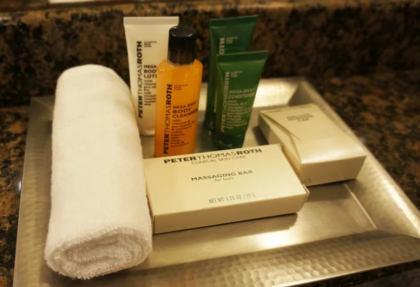 Peter Thomas Roth bath amenities were an unexpected touch — these are definitely products worth taking home.