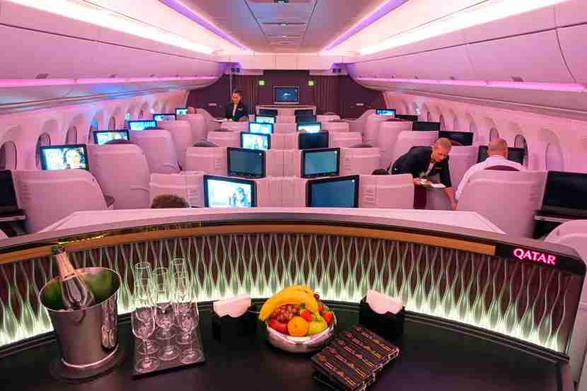Looking over the business-class cabin of Qatar