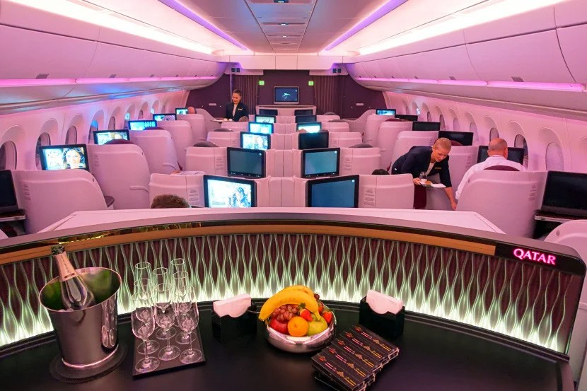 Looking over the business-class cabin of Qatar's A350.