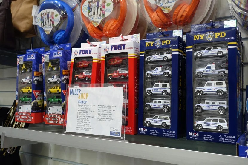 NY-themed toy car sets include NYPD, NYFD and general city vehicles, such as a taxi and garbage truck.
