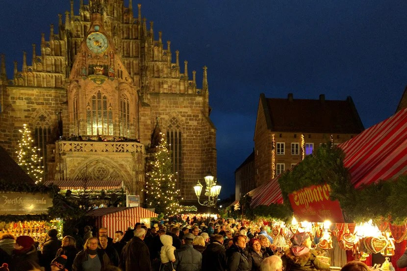 The Christmas market in Nuremberg's main square.