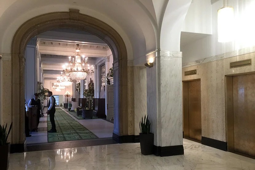 There's no shortage of chandeliers in the lobby.