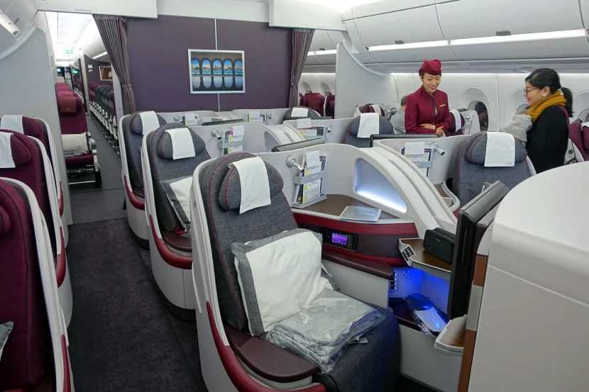 Another shot of Qatar's A350 business-class cabin.