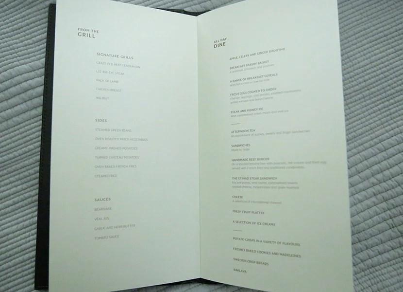 The Residence's menu.