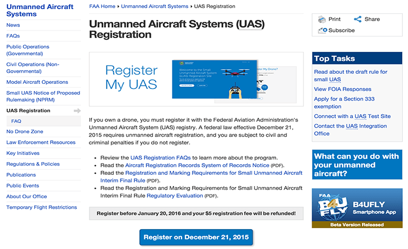 The FAA website where you'll have to register an UAS as of December 21, 2015.