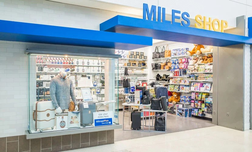 The exterior of United's Miles Shop.